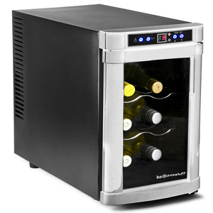Sommelier 6 Bottle Wine Cellar Black and Silver
