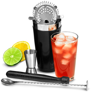 Black Vinylworks Boston Cocktail Shaker Set