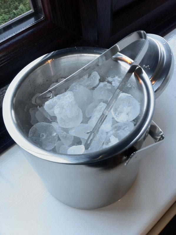 Double Walled Ice Bucket With Tongs Inside Lid Stainless