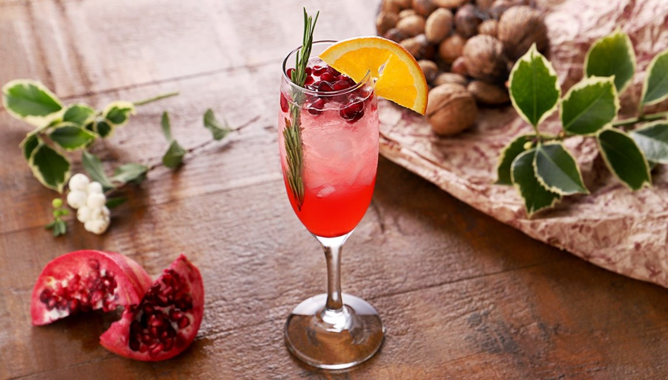Pomegranate & Rosemary Gin Fizz