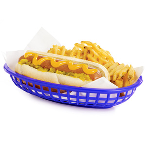 Classic Oval Food Basket Blue 24x15x5cm