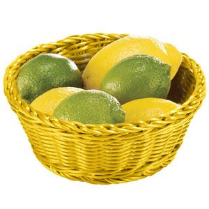 Image of Ridal Polypropylene Round Basket Yellow 21 x 8cm (Pack of 6)