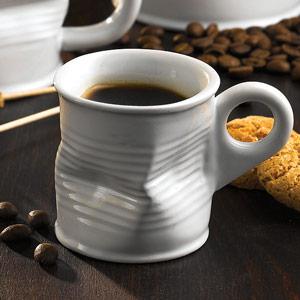 Squashed Tin Can Espresso Shot Mug White 2.5oz  70ml (Pack of 6)
