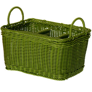 Polywicker Flatware & Condiment Caddy Green 11 x 7 x 6inch