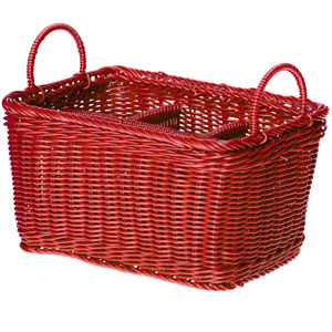 Polywicker Flatware & Condiment Caddy Red 11 x 7 x 6inch