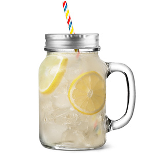 Mason Drinking Jar Glasses with Daisy Lids and Straws 20oz / 568ml