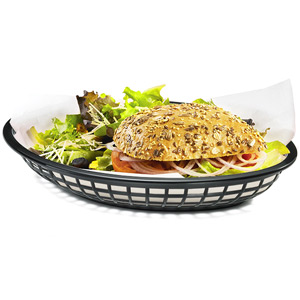 Jumbo Oval Food Basket Black 30x22x4.5cm