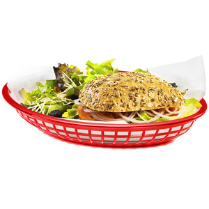 Jumbo Oval Food Basket Red 30x22x4.5cm