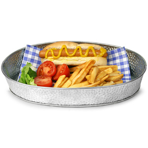 Galvanised Steel Oval Diner Platter 30.5 x 23cm