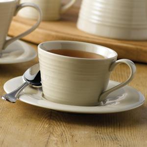 Art de Cuisine Rustics Snug Tea Cup & Saucer Cream 8oz  227ml (Case of 6)