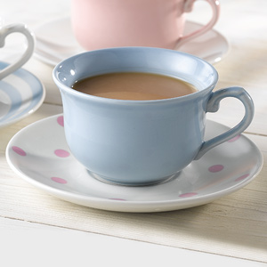 Churchill Vintage Café Tea Cup Blue & Saucer Pink Spots 10oz / 280ml