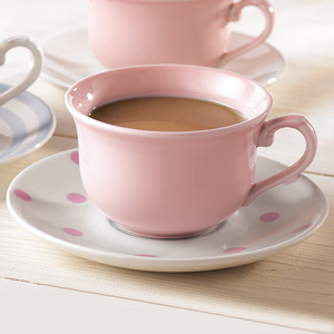 Churchill Vintage Café Tea Cup Pink & Saucer Pink Spots 10oz / 280ml