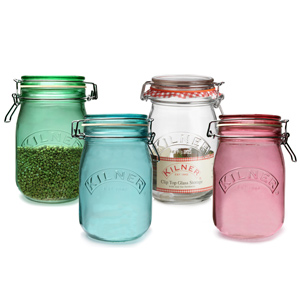 Kilner 4 Piece Round Clip Top Jar Set 1ltr