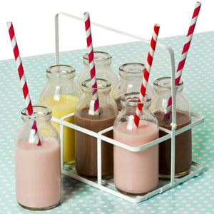 6 School Milk Bottles In Crate with Red Striped Paper Straws