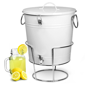 White Enamel Bucket Drinks Dispenser with Stand 17.5ltr