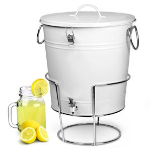 White Enamel Bucket Drinks Dispenser with Stand 17.5ltr