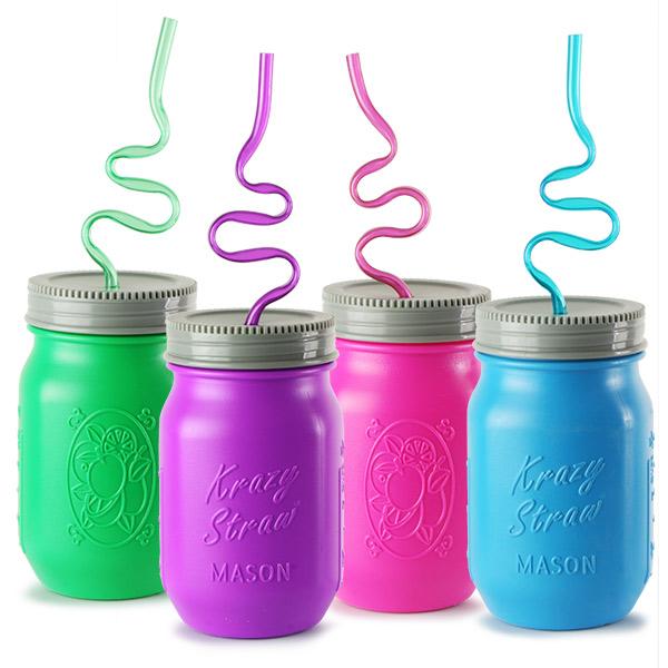 253594e5f Plastic Mason Drinking Jar with Krazy Straw 17.6oz   500ml ...