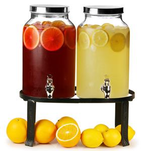 Dual Mason Jar Drinks Dispenser with Stand 10ltr