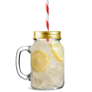 Mason Drinking Jar Glasses with Gold Lids and Straws 20oz / 568ml