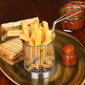 Round Chip Fryer Food Presentation Basket 9cm