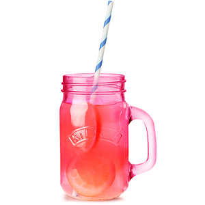 Kilner Pink Drinking Jars with Blue Striped Paper Straws