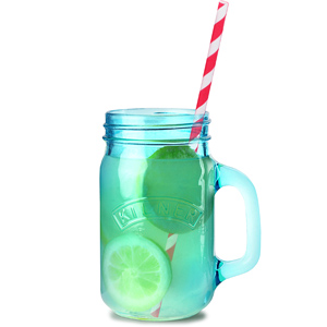 Kilner Blue Drinking Jars with Red Striped Paper Straws 14oz / 400ml