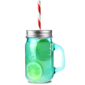 Kilner Blue Drinking Jars with Lids and Straws 14oz / 400ml