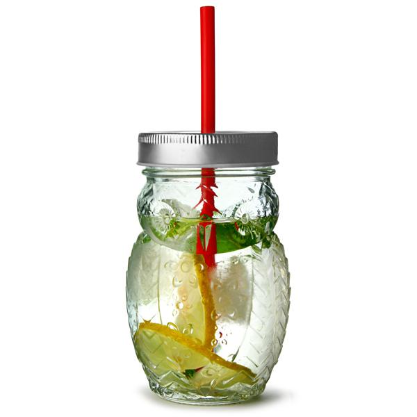 Owl Drinking Jar with Lid and Straw 17.5oz / 500ml drinkstuff ®