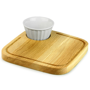 Rustic Oak Board Square 20cm with Vintage Café Dip Pot 6oz / 170ml