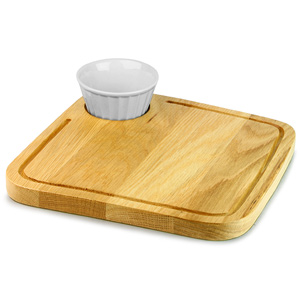 Rustic Oak Board Square 25.5cm with Vintage Café Dip Pot 6oz / 170ml
