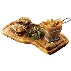 Genware Olive Wood Serving Board with Groove 40 x 21cm