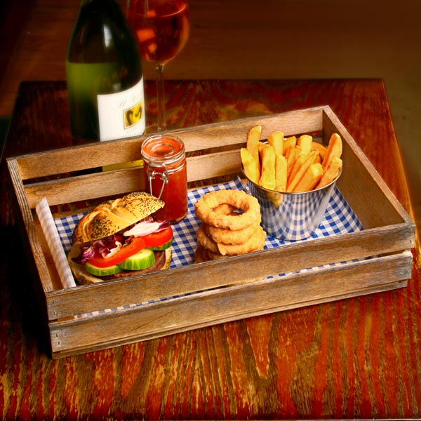 Wooden Food Presentation Crate 35 X 23 X 8cm
