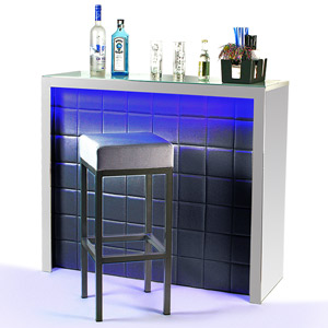 Hollywood Home Bar Black with LED Colour Lighting
