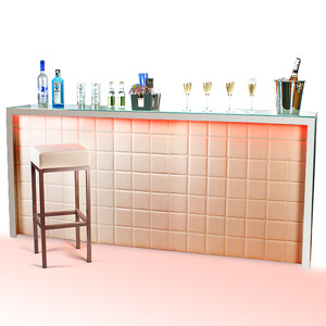 Hollywood Home Bar Large Cream with LED Colour Lighting