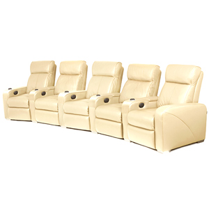 Premiere Home Cinema Seating - 5 Seater Cream