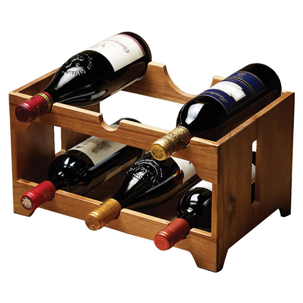 Natural Elements Acacia 6 Bottle Wooden Wine Rack Drinkstuff