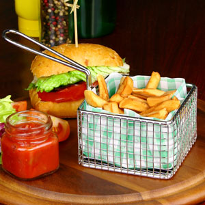 Square Chip Fryer Food Presentation Basket 9.5 x 6cm