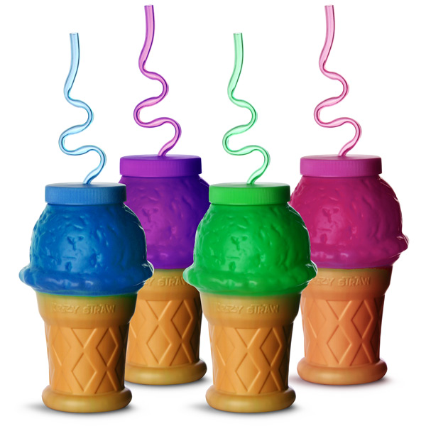 Plastic Ice Cream Cone Shaped Cup With Krazy Straw 17 6oz
