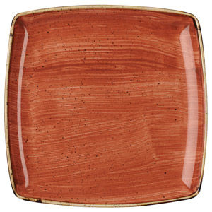 "Churchill Stonecast Spiced Orange Deep Square Plate 10.25"" / 26cm"