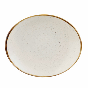 Churchill Stonecast Barley White Oval Coupe Plate 7.75 Inch / 19.2cm