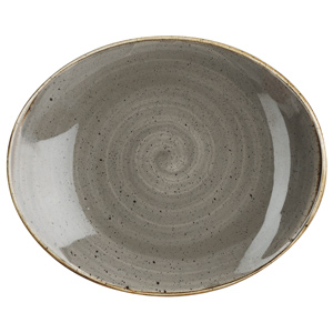 Churchill Stonecast Peppercorn Grey Oval Coupe Plate 7.75 Inch / 19.2cm