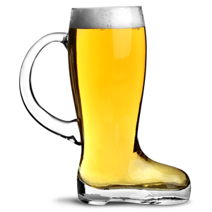 Glass Beer Boot with Handle 1.75 Pint