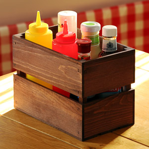 Mini Rustic Wooden Crate Table Tidy 23.5 x 14 x 16.5cm