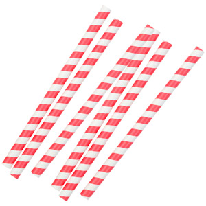 Mix & Match Jumbo Paper Straws 8 Inch Red