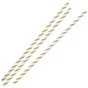 Gold & White Striped Paper Straws 8inch