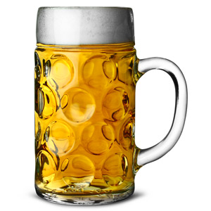 German Beer Stein Glass CE Lined at 2 Pints / 1.4ltr