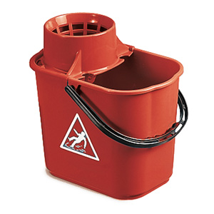 Colour Coded Red Heavy Duty Mop Bucket with Wringer