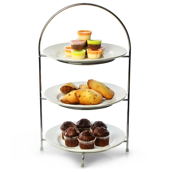 Utopia Chrome 3 Tier Cake Plate Stand 16.5inch / 42cm with 23cm Plates  sc 1 st  Drinkstuff & Utopia Chrome 3 Tier Cake Plate Stand 16.5inch / 42cm with 23cm ...