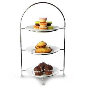 Utopia Chrome 3 Tier Cake Plate Stand 15.5inch / 39cm with 17cm Plates