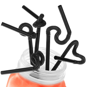 Super Bendy Straws 11inch Black